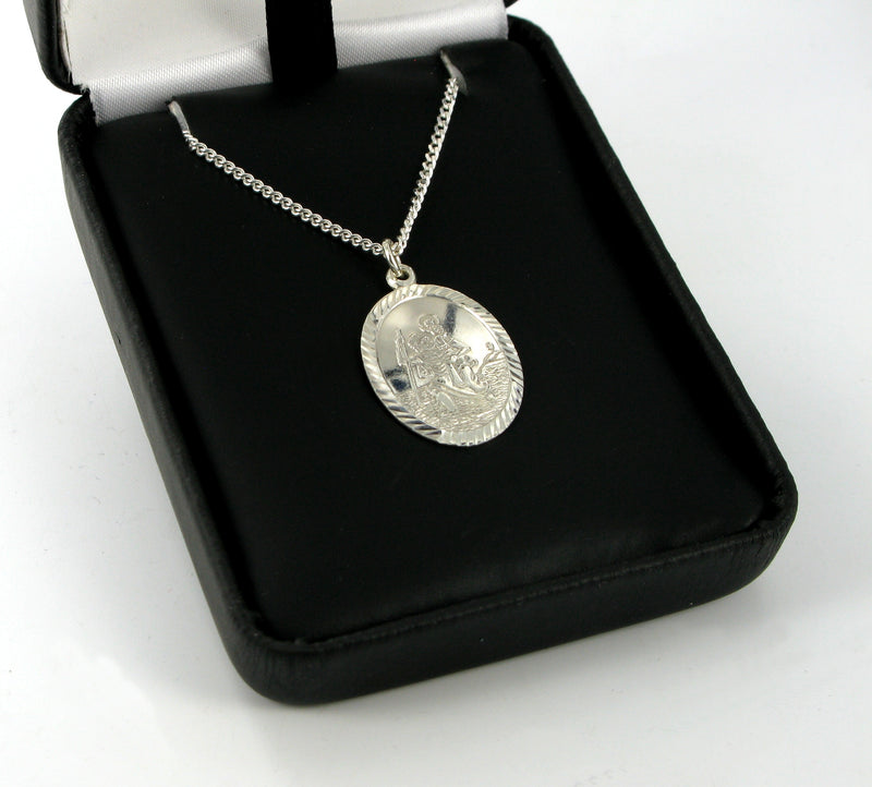"Oval St. Christopher with 18"" Curb Chain & Presentation Box"
