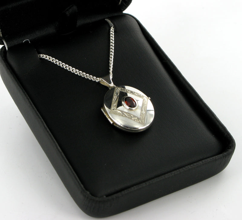 "Red Garnet Oval Locket & 18"" Curb Chain"