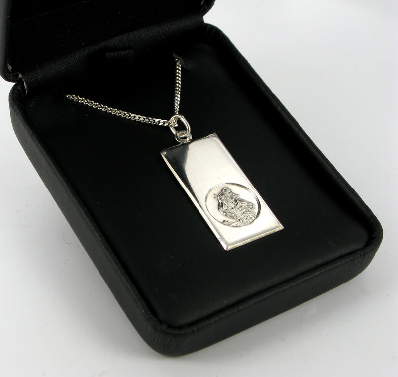 "Dog Tag Saint Christopher with 20"" Curb Chain & Presentation Box"