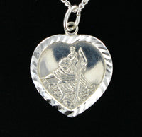 "Heart St. Christopher with 18"" Curb Chain & Presentation Box"