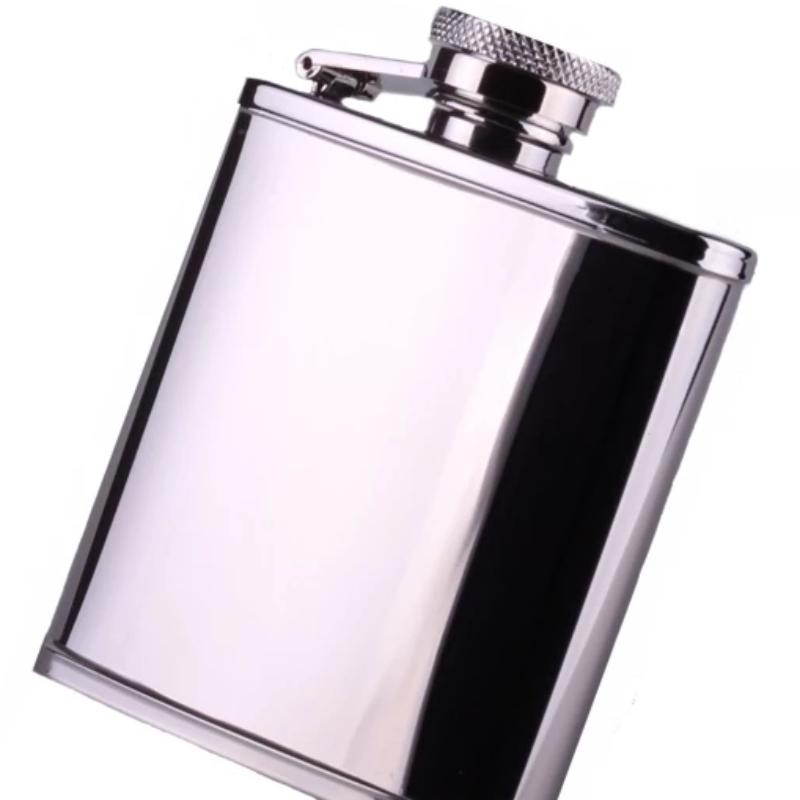 Hip Flask Polished Steel 2.5oz