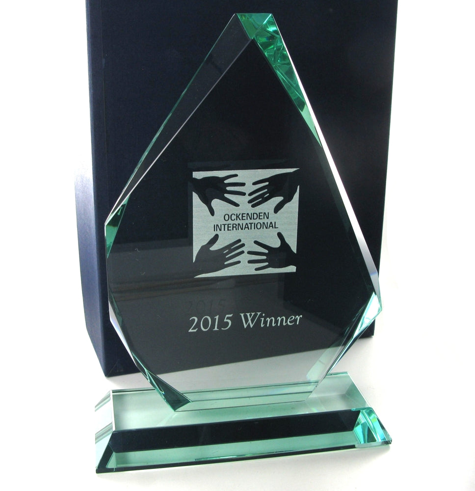 Swatkins Jade Glass Pyramid Award 205mm tall
