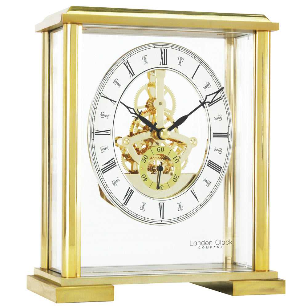 London Clock Square Top Gold Skeleton Mantel Clock 02085