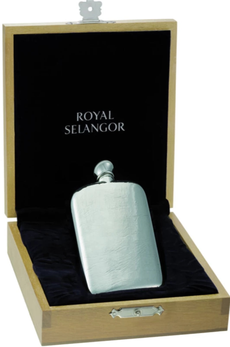 Royal Selangor Classic Hip Flask 3oz  & Wooden Case OE0041