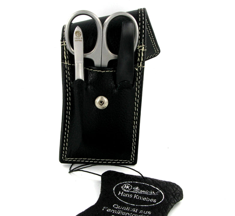 Black Leather Manicure Set Small by Hans Kniebes
