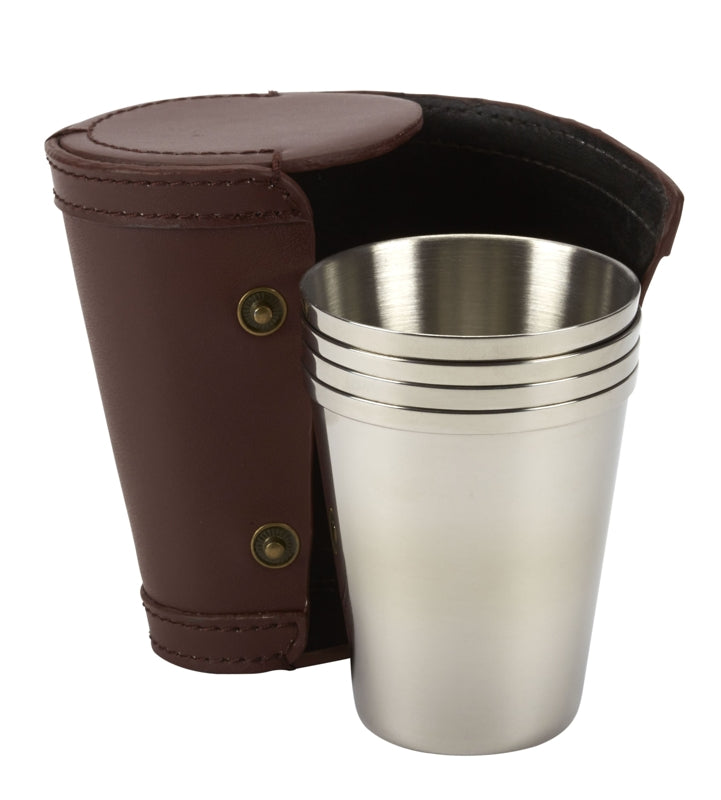 Shooting Cups & Leather Case R3387 Personalised laser engraving to top lid.
