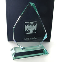 Swatkins Jade Glass Pyramid Award 165mm tall
