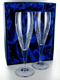 Mayfair Champagne Flutes Pair with Presentation Box & Free Engraving