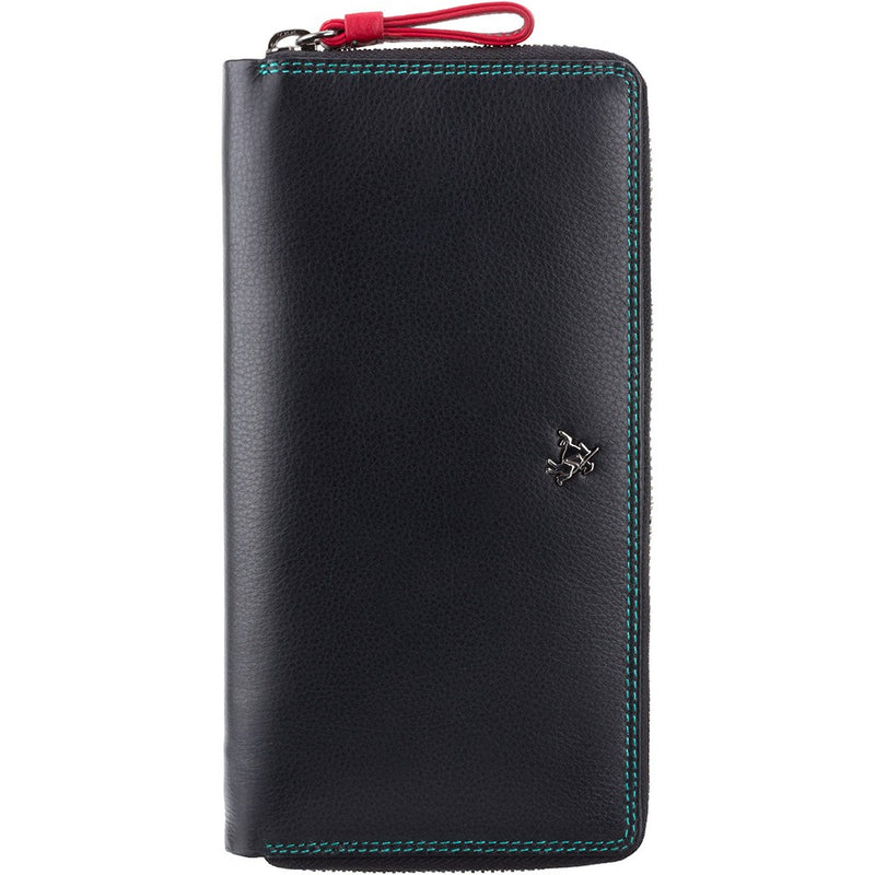 Visconti Iris Black Zip Round Purse with Multi Colour Interior SP33
