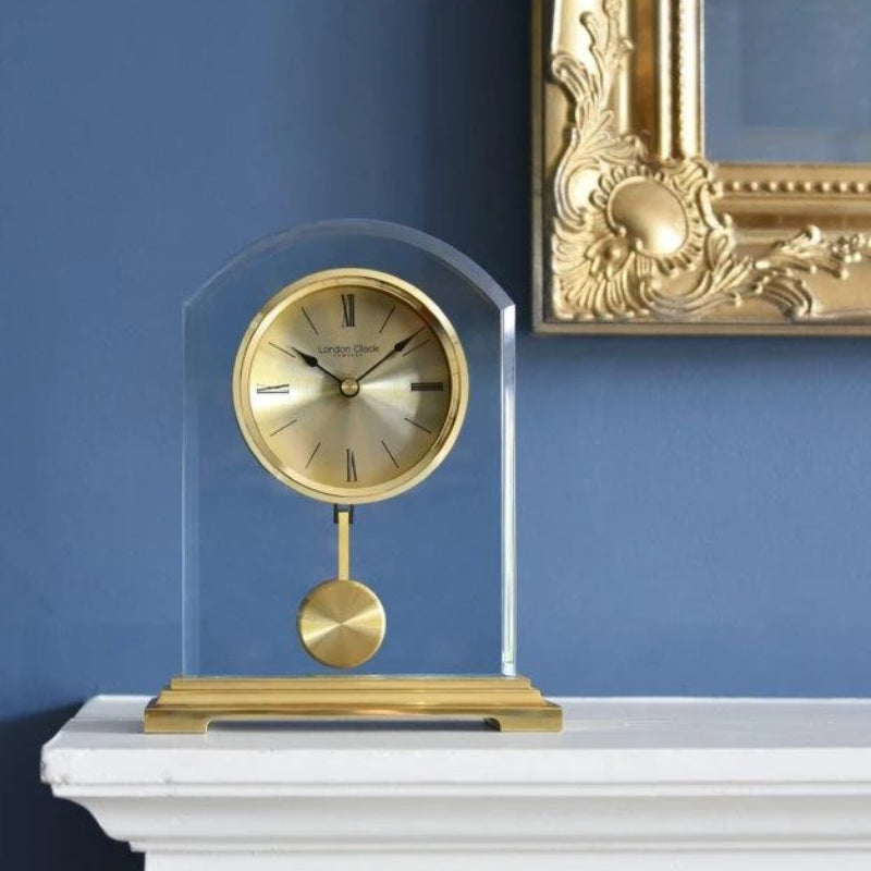 London Clock Gold Arch Pendulum Glass Mantel 03148