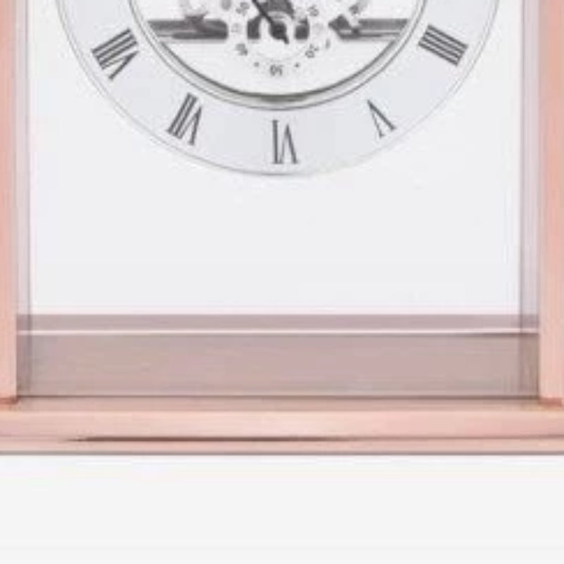 London Clock Arch Top Rose Gold Skeleton Mantle Clock 03183