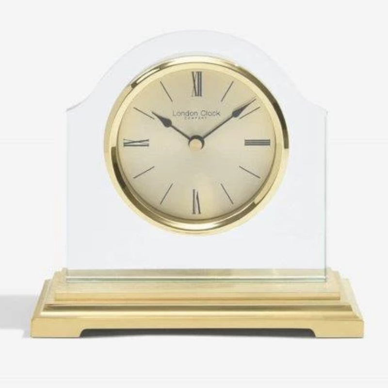 London Clock Gold Break Arch Glass Mantel 03149