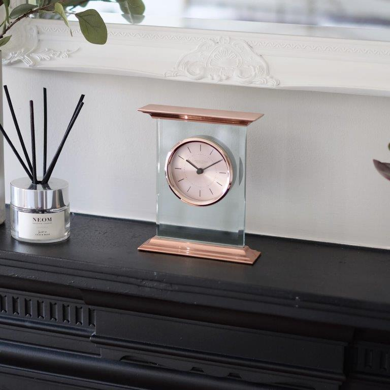 London Clock Flat Top Rose Gold Mantle Clock 03213