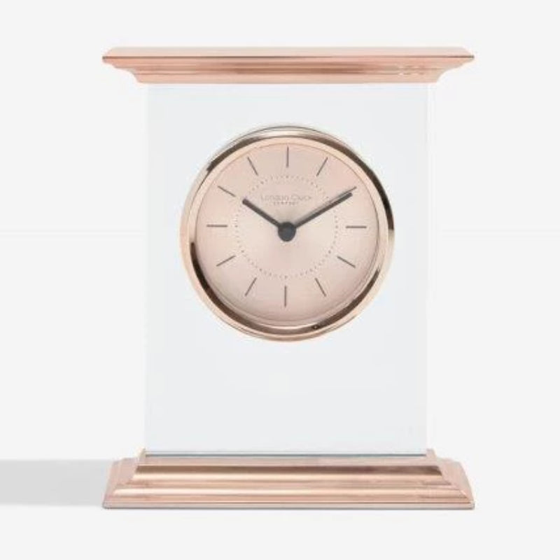 London Clock Flat Top Rose Gold Mantle Clock 03213  Laser engrave your message on the glass under the clock face
