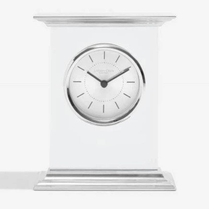 London Clock Flat Top Silver Chrome Mantle Clock 03214