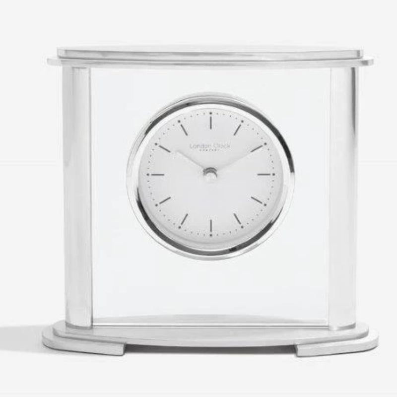 London Clock Oval Silver Mantle Clock 03218