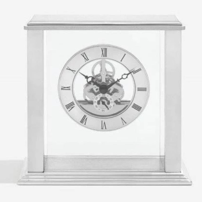 London Clock Simple Frame Silver Skeleton Mantel 03152