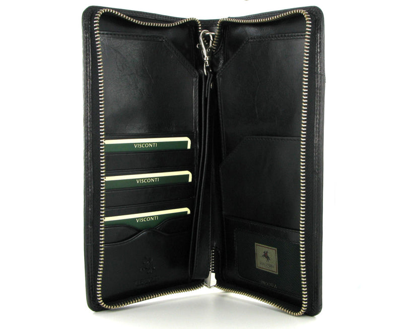 Visconti Monza Italian Black Leather Travel Wallet MZ101