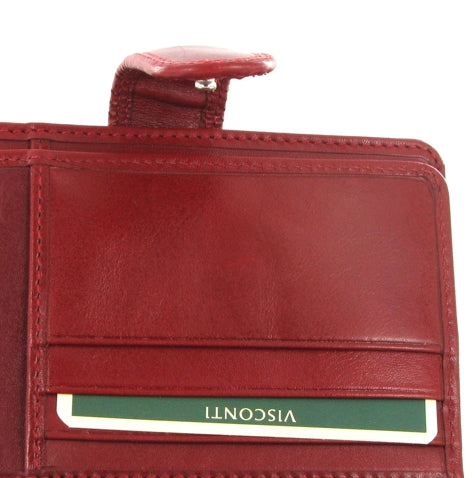 Visconti Monza MZ11 Venice Italian Red Leather Purse