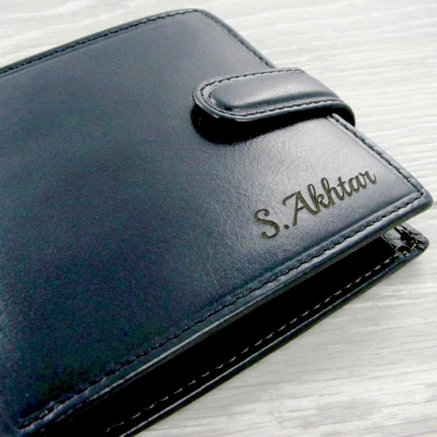 Personalised Black Leather Wallet with laser engraved name on front and message inside