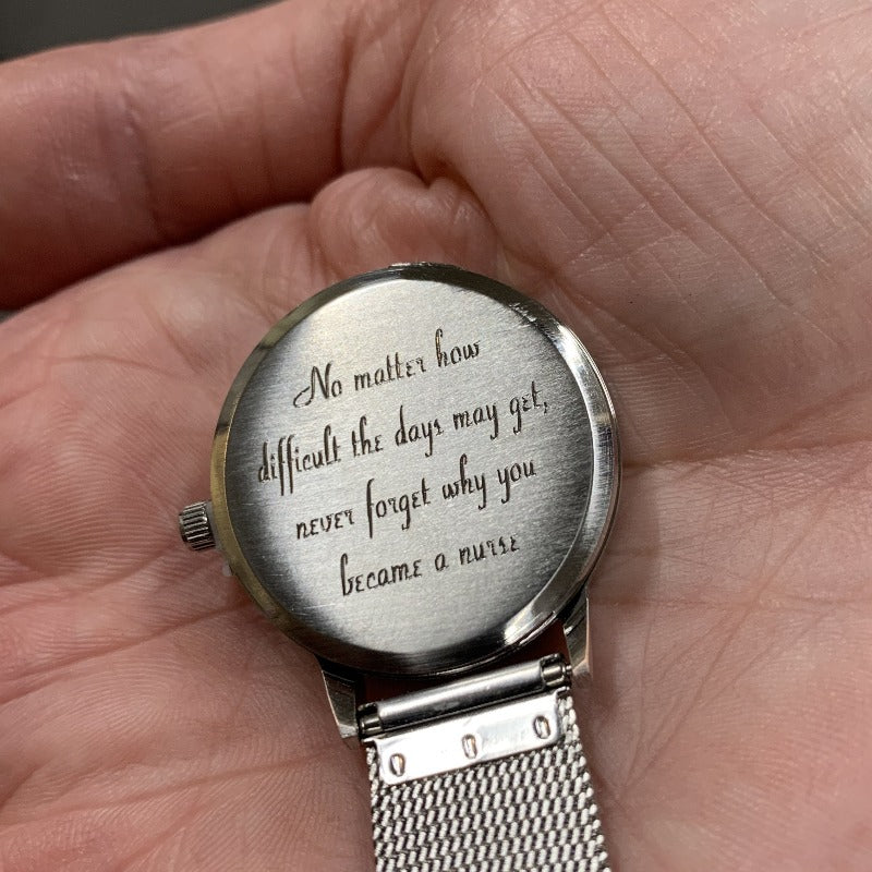 Easy Read Engraved Nurse Fob Watch Chrome R1101.10