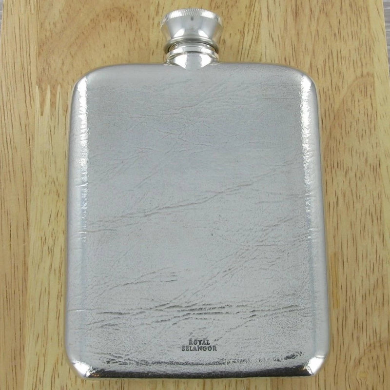 Engraved Hip Flask 4.5oz  & Wooden Case (Royal Selangor)