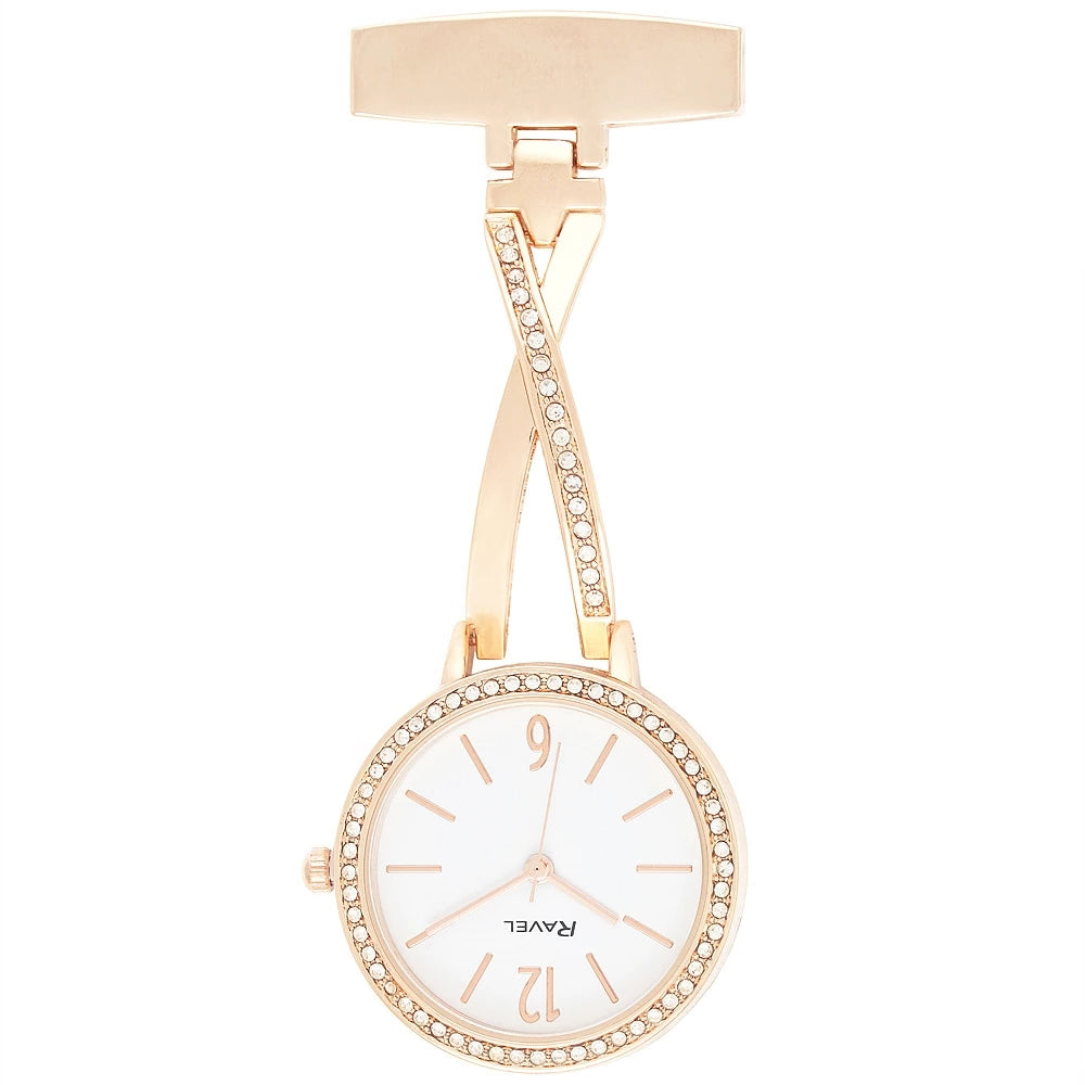 Engraved Nurse Fob Watch Rose Gold Diamante Kriss Kross  R1106.04