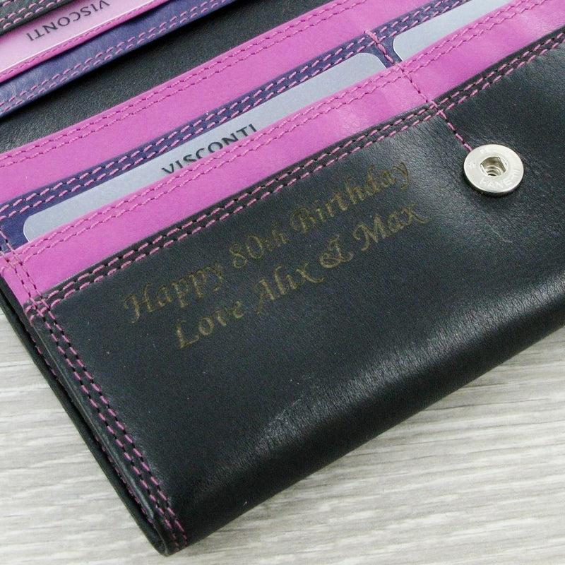 Personalised Ladies Purse Paloma Black & Berry R11