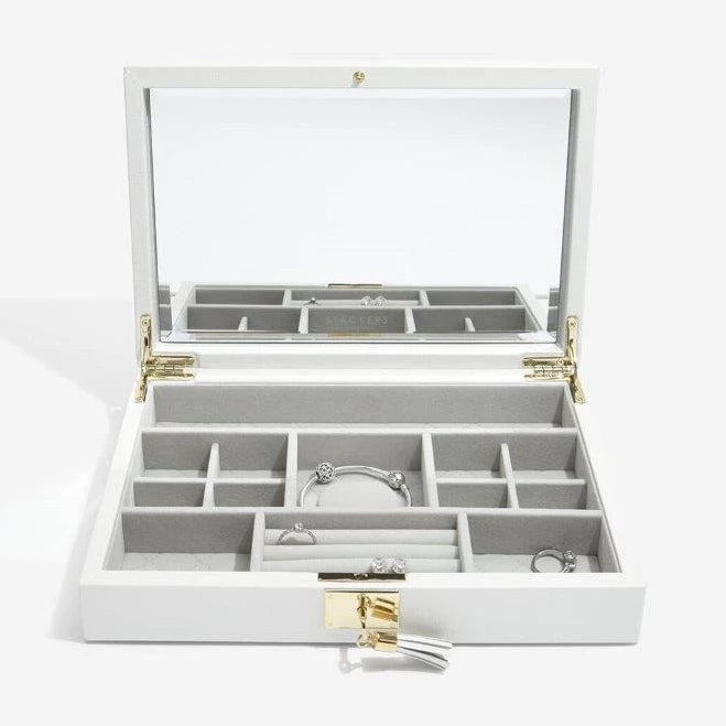 Stackers Jewellery Boxes 75441 Orchid White Leather open