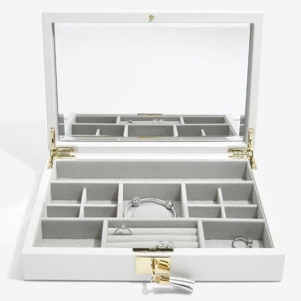 Stackers Orchid White Leather Jewellery Box Set3 75457