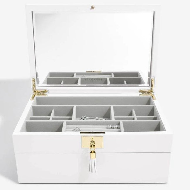 Stackers Orchid White Leather Jewellery Box Set 2 - 75453 Personalise the Top with Laser Engraved Message