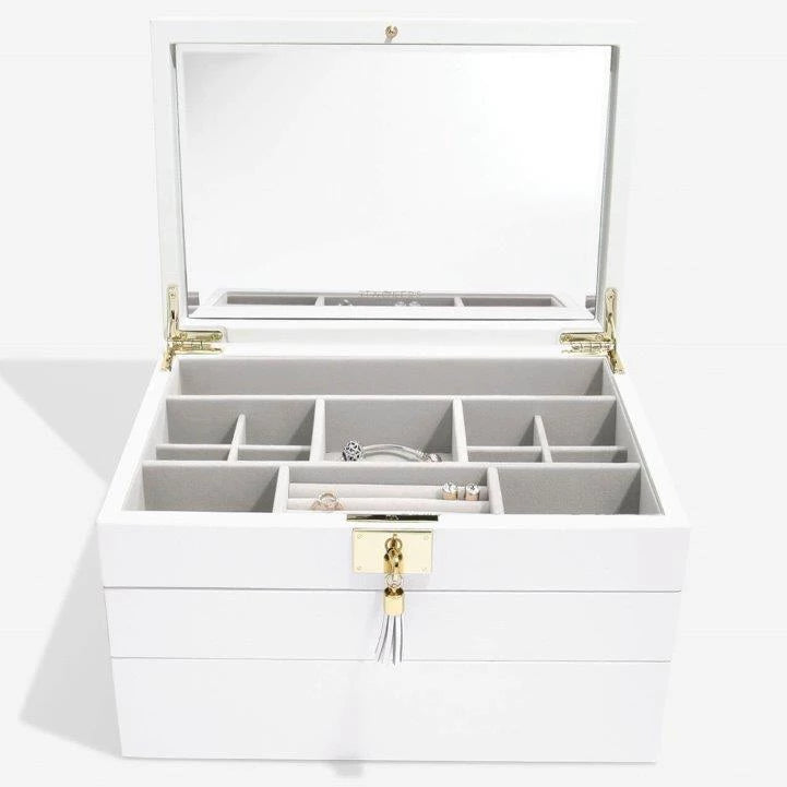 Stackers Orchid White Leather Jewellery Box Set 3 - 75457 Personalise the Top with Laser Engraved Message