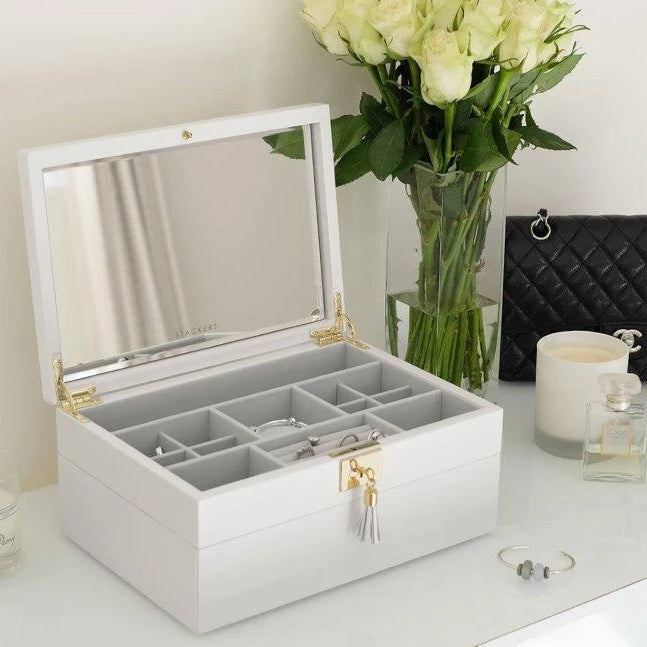 Stackers Orchid White Leather Jewellery Box Set2 75453
