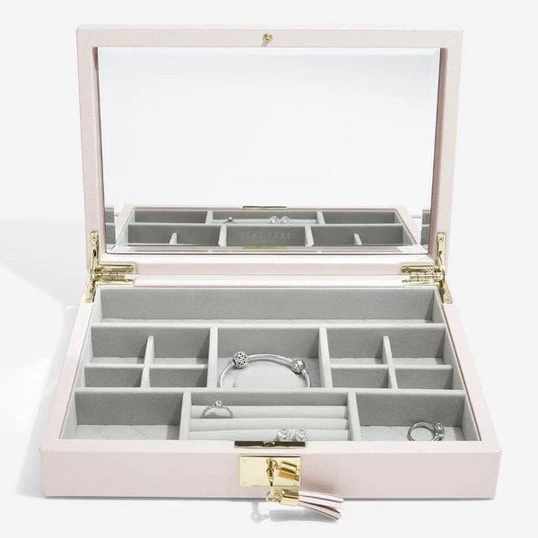 Stackers Jewellery Boxes 75449 Blossom Pink Leather open