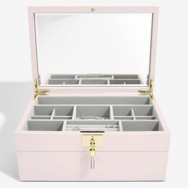 Stackers Blossom Pink Leather Jewellery Box Set 2 - 75445 Personalise the Top with Laser Engraved Message