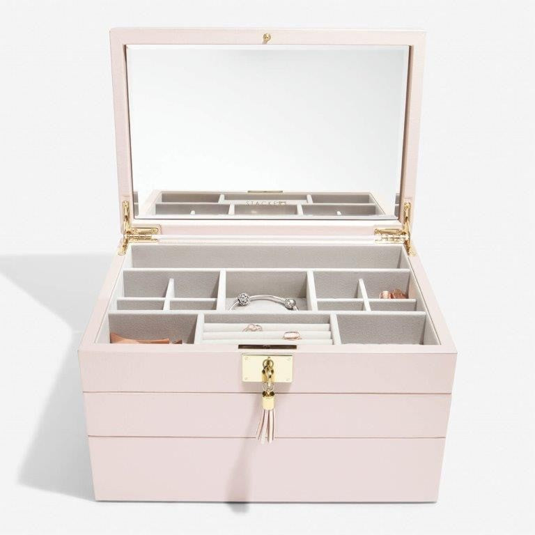 Stackers Blossom Pink Leather Jewellery Box Set 3 - 75449 Personalise the Top with Laser Engraved Message