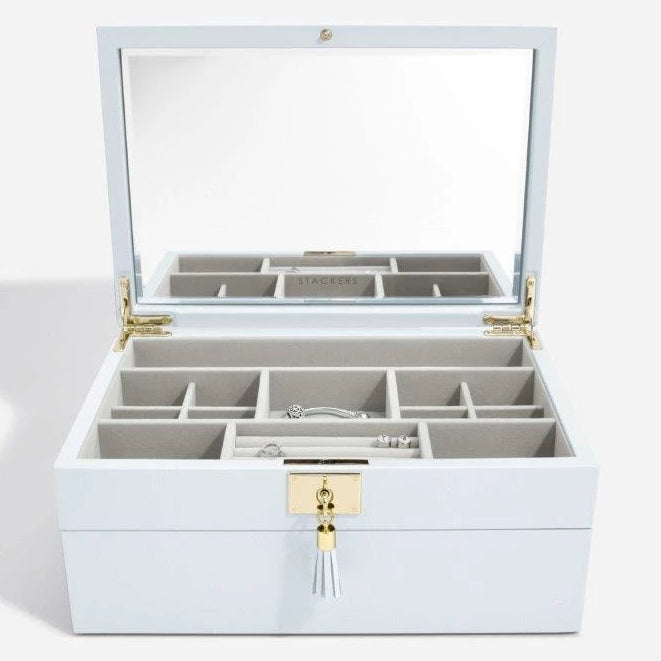 Stackers Powder Blue Leather Jewellery Box Set 2 - 75454 Personalise the Top with Laser Engraved