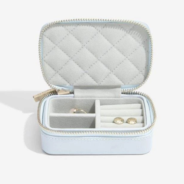 Stackers Powder Blue Leather Travel Box 75448 Personalise the Top with Laser Engraved Message