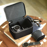 Stackers Black Double Travel Watch Box 75397 Personalise the lid with Laser engraved message