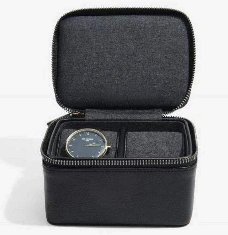 Stackers Black Double Travel Watch Box 75397 Vegan Leather
