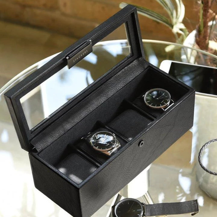 Stackers Black 4 Piece Watch Box 75399 Vegan Leather Engrave It Now and personalise the lid with a laser engraved message