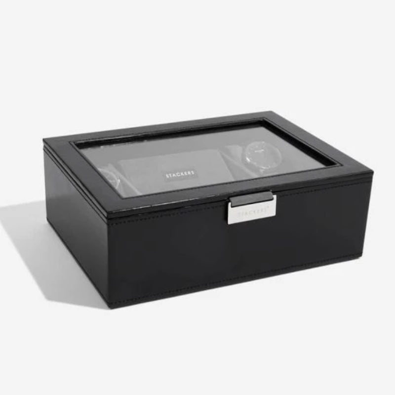 Stackers Executive Black 8 Piece Lidded Watch Box 73223