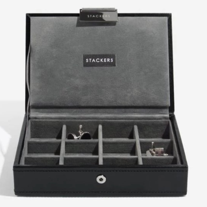 Stackers Executive Black Cufflink Box 73184 Vegan Leather Personalise the lid with Laser engraved message