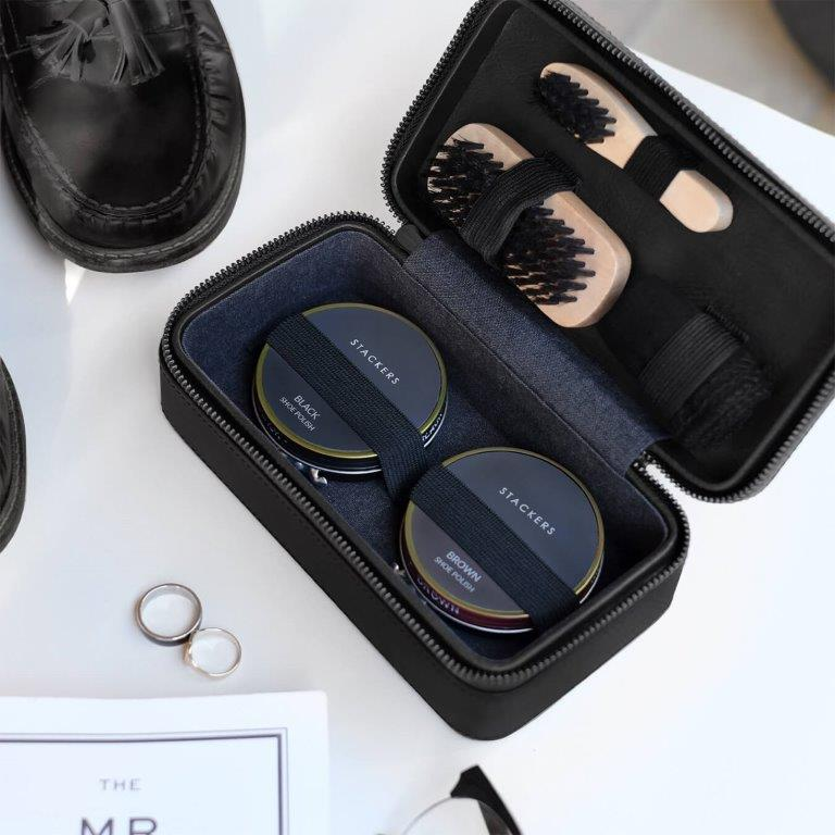 Stackers Black Vegan Leather Shoe Shine Kit 75431 Personalise the lid with Laser engraved message