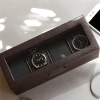 Stackers Brown 4 Piece Watch Box 75398 Vegan Leather Engrave It Now and personalise the lid with a laser engraved message