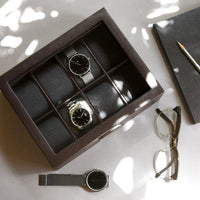 Stackers Brown 8 Piece Watch Box 75400 Vegan Leather Engrave It Now and personalise the lid with a laser engraved message