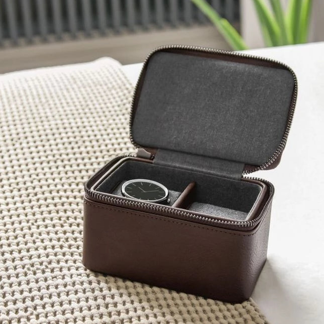 Stackers Brown Double Travel Watch Box 75396 Vegan Leather