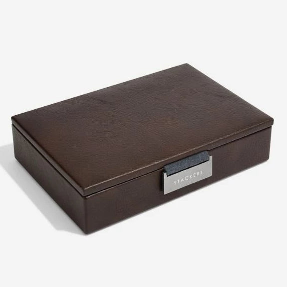 Stackers Brown Leather Lidded Mini Cufflink Box 75422 Vegan Leather