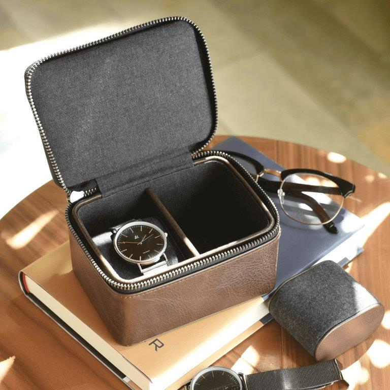 Stackers Brown Double Travel Watch Box 75396 Personalise the lid with Laser engraved message
