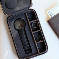 Stackers Black Watch & Cufflink Travel Zip Box 75426 Personalise the lid with Laser engraved message